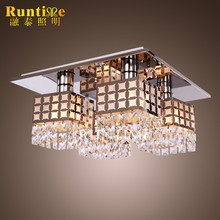 Mirror Stainless Steel 4 Lights Flush Mounted Crystal Light Ceiling RT8200-4