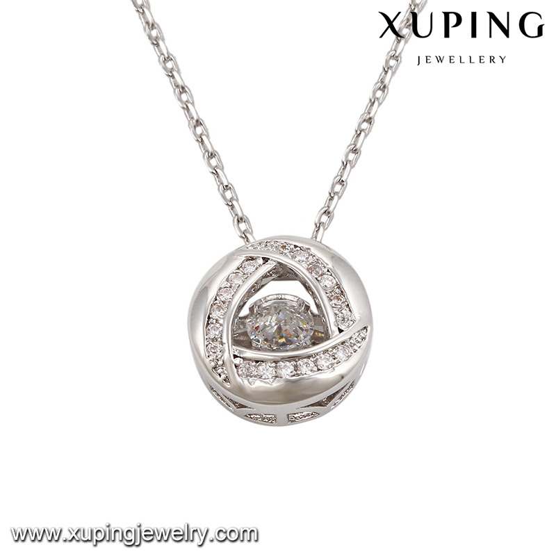 necklace-00080 Xuping latest design pendant necklace spherical pendant crystal collar necklace ball shape