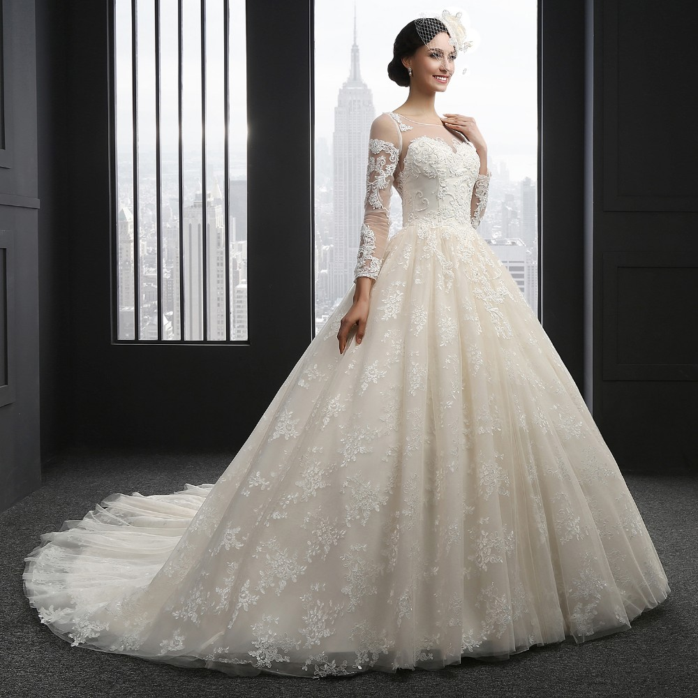 SL-3002 Long Sleeve O-neck Lace Ball Gown Wedding Dress