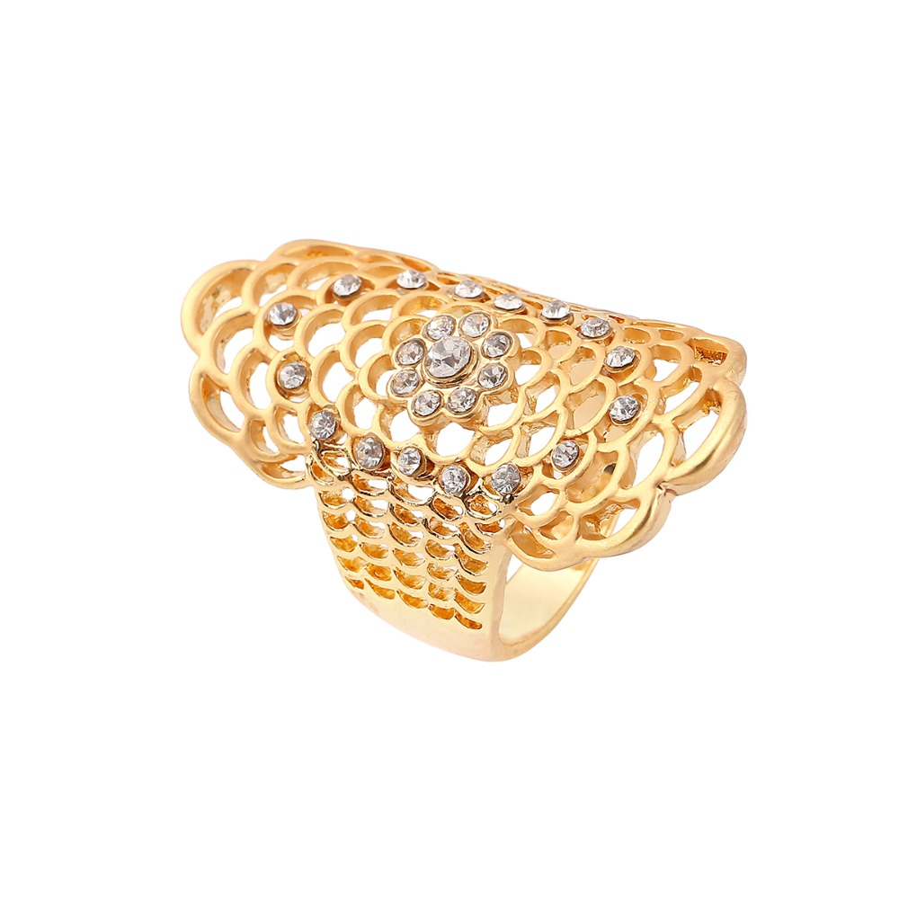 Beautiful Crystal Net Grid Hollow Out Ring Large And Long Gold Plated Ring Ladies Fashion Women Jewelry