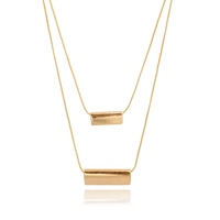 Gold metal bar pendant necklace, double layer metal plate on chain collar necklace pendant