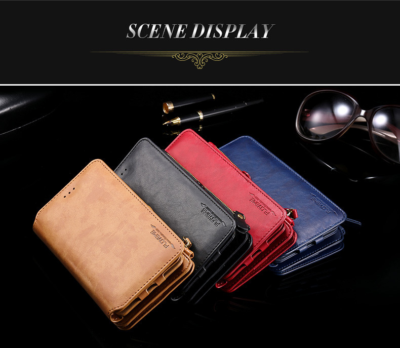 black/brown/red/dark blue card slot/stand FLOVEME magnetic lock universal pu leather wallet phone case bumper for note5/s6 edge