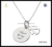 Lucky design angel in my side personalized tag pendant necklace