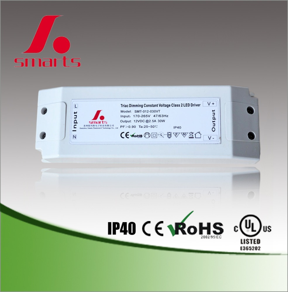 24v dc 30w dimmable led driver UL CE