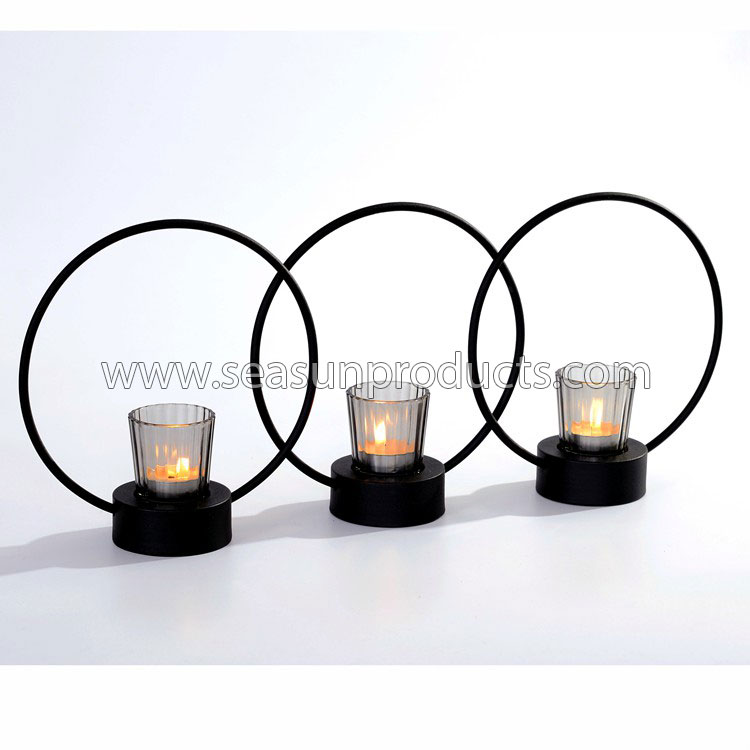 home decoration metal candle holder with glass cup, set of 3
