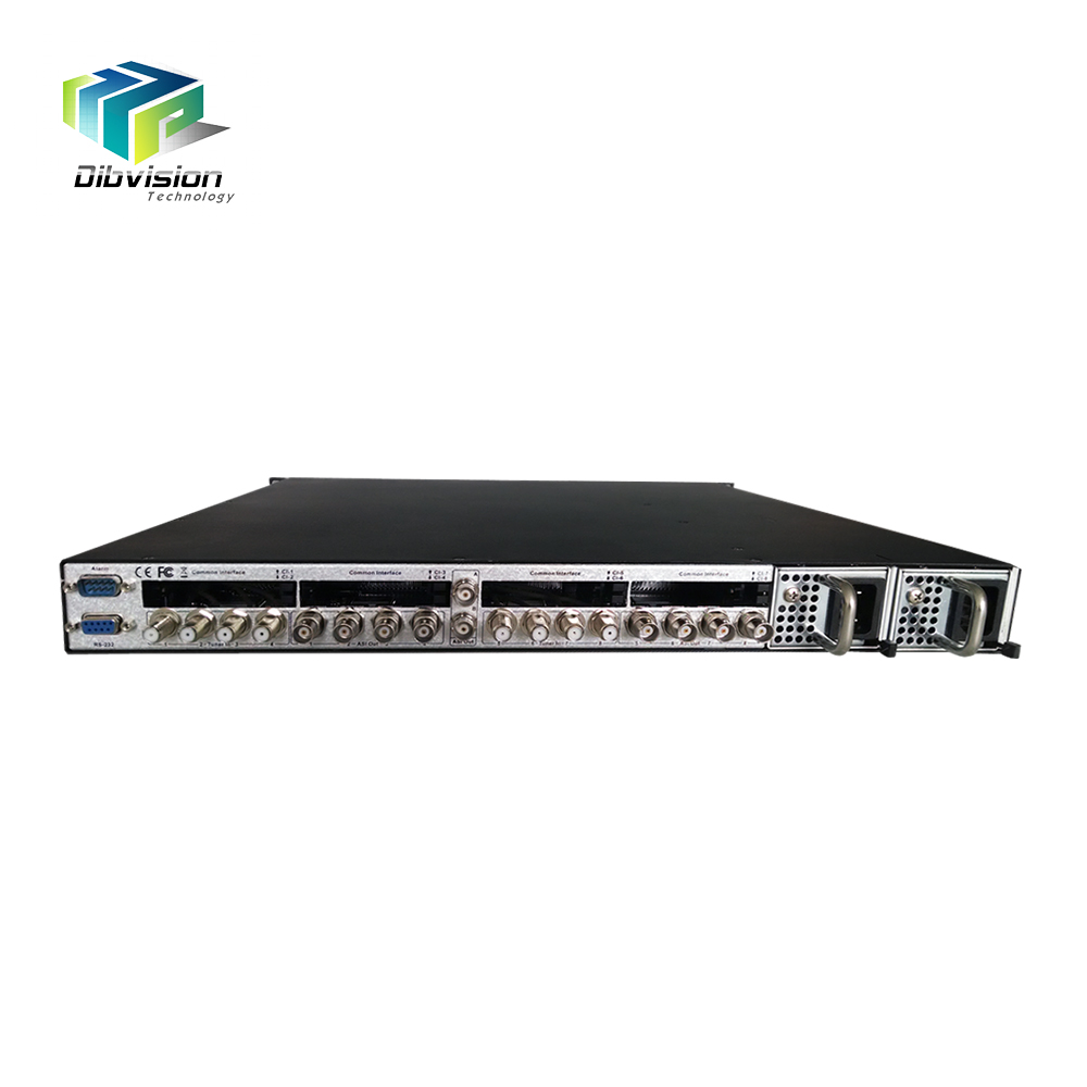 8 Tuners CI decryption DVB to ip gateway multiplexer and ts processor with 128 ip streaming