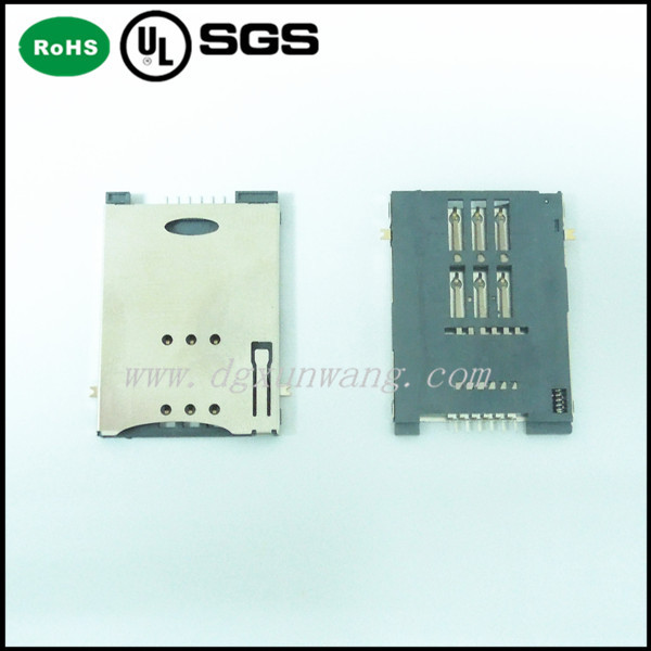2015 high quality smartphone push sim card connector 6P SMT Card