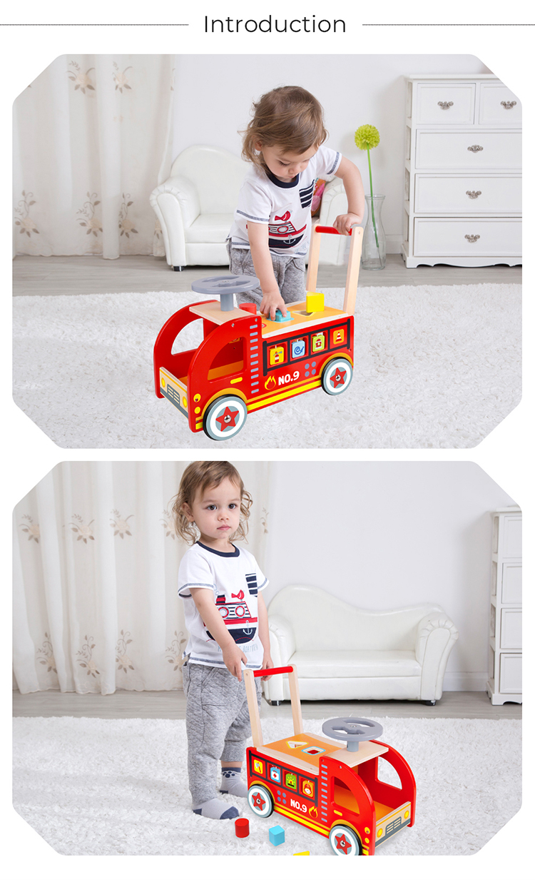 15% Fixed Discount New Design Wood Fire Truck Wholesale Children Small Toy Car Ride On Car