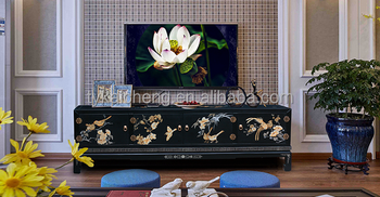 Chinese Style Luxury Handmade Wooden Lacquer TV Cabinet /TV Stand with Colored Drawing for Storage and Home Decoration