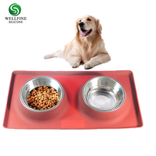 Removable Stainless Steel Dog Bowl With No Spill Non-Skid Silicone Mat 53 oz to 12oz Feeder Bowls Pet Bowl For Dogs Cats and Pet