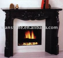 artificial black marble stone fireplace mantel