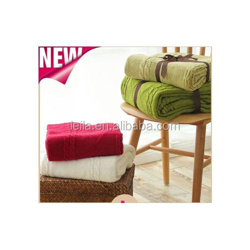 customized perfectly suited for bed settings/sofa anti static/piling cotton cable knit throw cover/blanket
