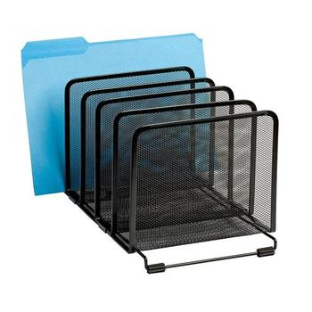 5 Sections Black Metal Mesh Office File Holder