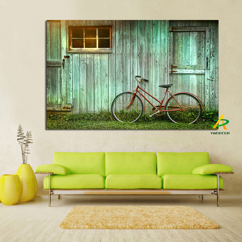 Big size Digital printed land scape Oil painting bicycle under the house canvas prints unframed oil painting for living room