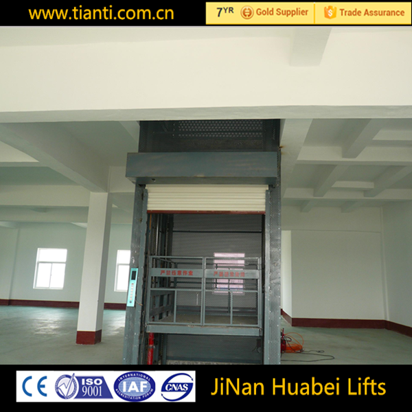 Industrial plants electric vertical chain guide rail type lift hydraulic warehouse cargo lift