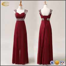 China OEM supplier new ladies Chiffon Embroidery, Beads and Sequins embellishment Formal Prom Party Ball Bridesmaid Dress