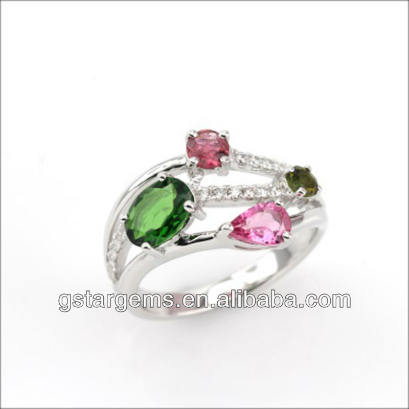 925 Sterling Silver Tourmaline Ring Gemstone Jewelry Hong Kong Wholesale