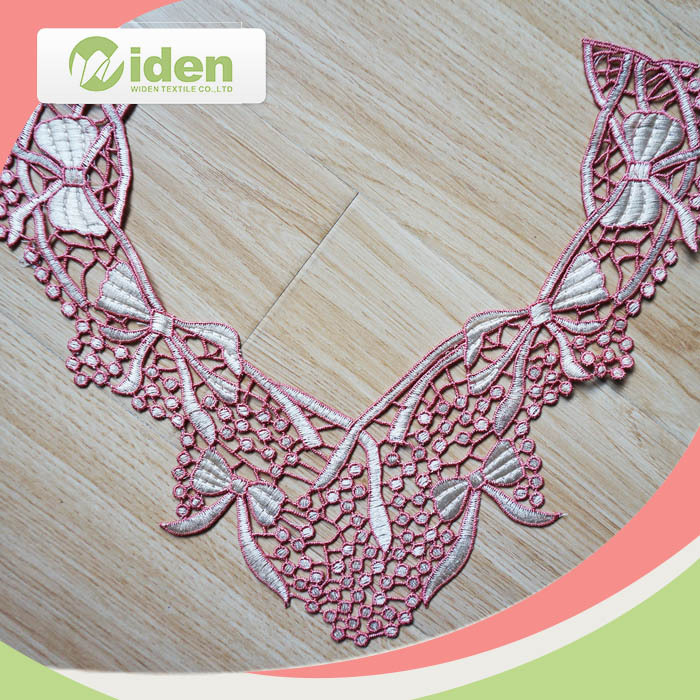 widentextile pink polyester neck lace /OEKO approval high qualitty neck design lace for churidar