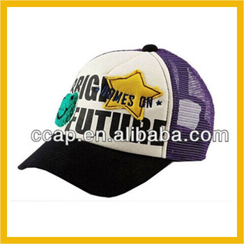 Custom made baseball cap embroidered and printed 5 panels mesh trucker cap