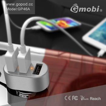 Ultra-slim CNC Aluminium 3-Port 6.3A Car USB Charger For iDevices & Smart Phones