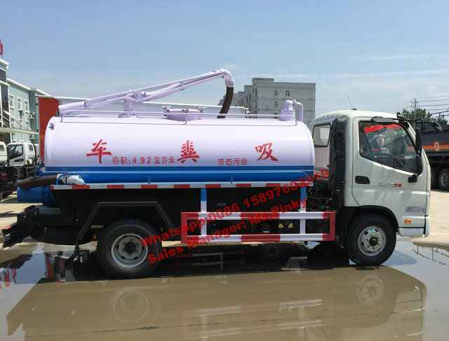 China Cheaper Price 5CBM FOTON Fecal Suction Tanker Truck for Wast water with Vacuum Pump