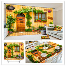 Top Sale European Romantic Style 3D Polyester Yellow Tablecloth , Shower Curtain , Window Curtain Witn Coffee Shop
