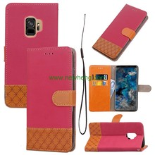 Hot selling jean book leather wallet phone case for samsung s9