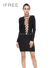 Lady's Sexy Stylish Long Sleeve Lace Up Mini Bandage dress wholesale