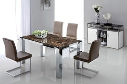 Contemporary stainless steel legs artificial marble dining table, marble top dining table, stone dining table