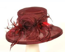wholesale fashion flower wide brim sinamay ladies fancy church hats for sales