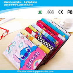 Stitch cartoon character case for ipad air 2 ipad 6 pu leather printing case