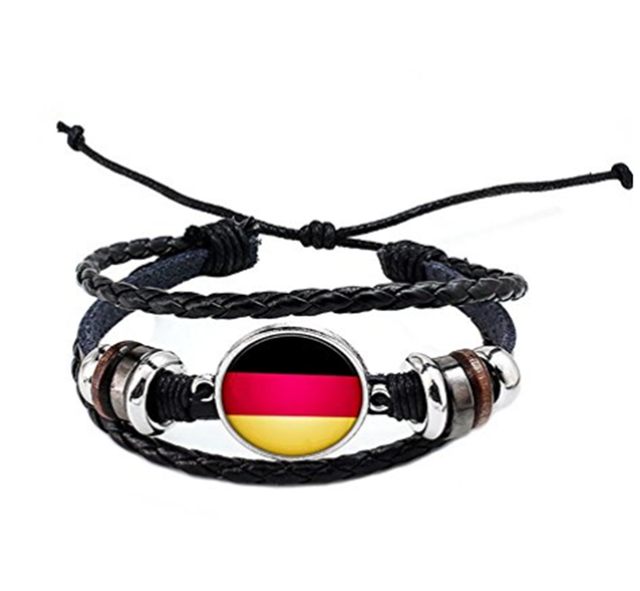 Charming world cup souvenirs knitting custom made bracelet with gemstone