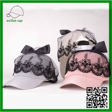 New Product Korea Ladis Fashion Sunshade Lace Bowknot Knitted Baseball caps for sale