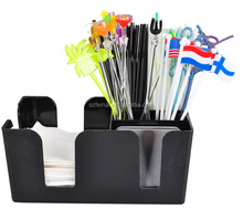 High quality ABS plastic rectangle black bar caddy napkin straw stirrer holder with branded logo