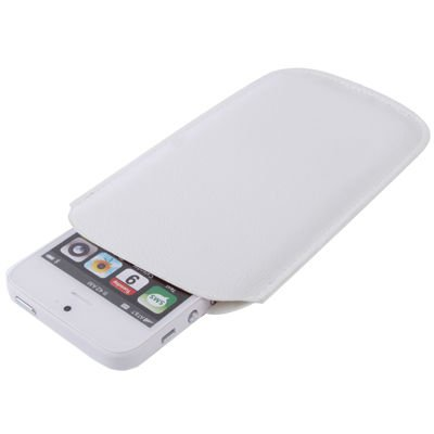 Leather Case Pocket Pouch Sleeve Bag for iPhone 5 / iPhone 4 & 4S (White)