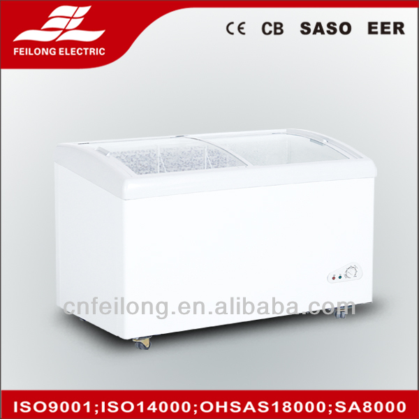 Curve glass door 360L top open chest freezer CE,CB,RoHS
