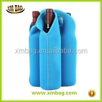 Promotional Neoprene 4 bottles wine gift bag bottle tote cooler bag