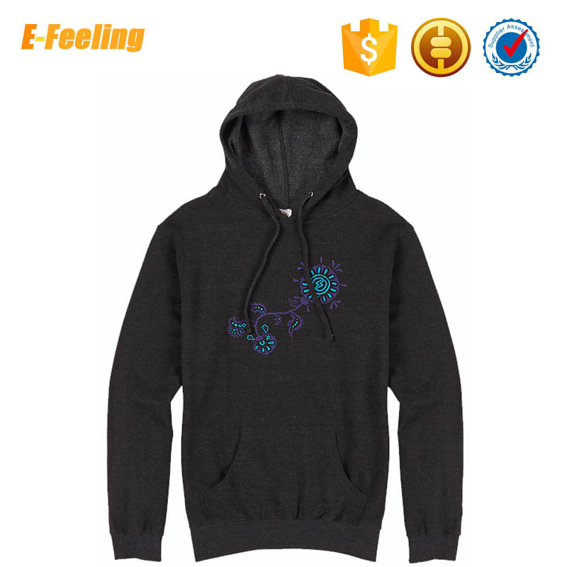 Thin Cotton Men Embroidered Pull Over Hoodies Custom