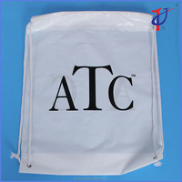 Alibaba supplier custom biodegradable White LDPE Drawstring backpack, drawstring top shopping wholesale plastic bag