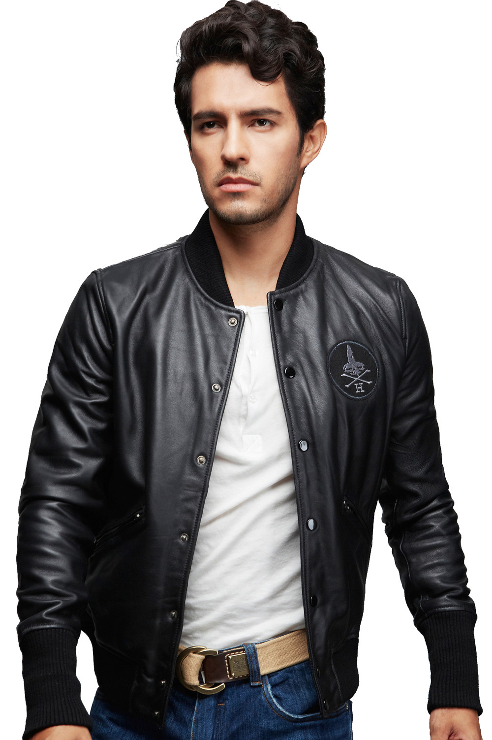 Top Quality Mens Flight Bomber Leather Jacket