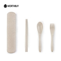 Eco-Friendly Travel Cutlery Set With Case Wheat Straw Cutlery Portable Tableware