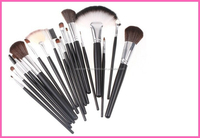 18pcs Professional Cosmetic Makeup Brush Sets + Gray Leather Case free sample