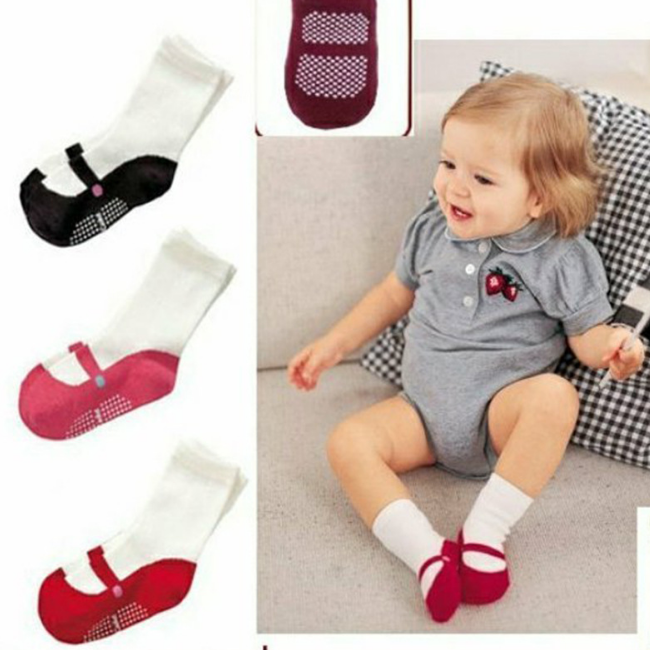PHB12399 baby girls cute infants 2017 socks with rubber sole