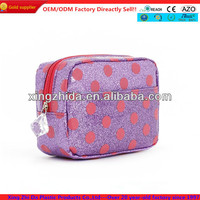 Water proof glitter cosmetic bag with printing