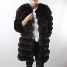 New Style Women Winter Luxury Removeable Sleeves And Length genuine Fox Fur Jacket real fur coat