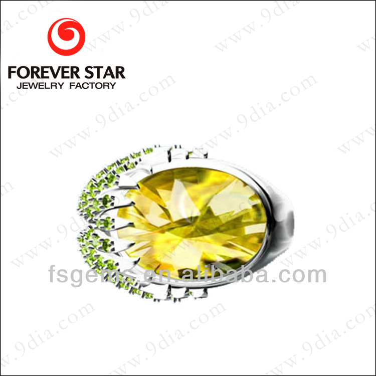 W1R000413A Wholesale 925 Silver Rhodium Plated Elegant Created Citrine Ring