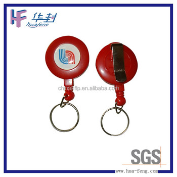 Customized logo printing Wholesale Cheap keyring retractable pull reel