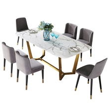 Dining Table set and Chairs Sets for 4/6/8 /10 Persons stainless steel Kitchen Dining Room <strong>Furniture</strong> Rectangle shape item