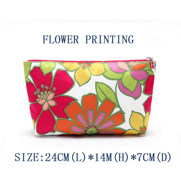 Professional design flower  printed makeup polyester bag travel cosmetic bag with zipper
