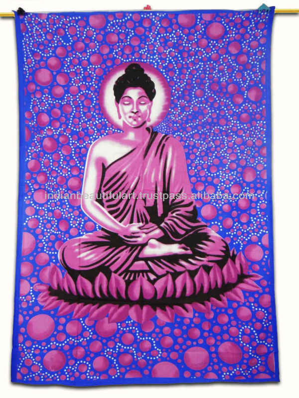 Buddha Tapestry Wall Hangings buddha tapestry ethnic wall hanging blue table cloth cotton bed